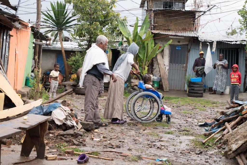 Child in Africa in wheelchair
